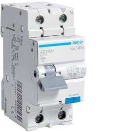 Disjunctor diferential 1P+N 32A 30mA C  4.5kA Tip AC Hager AD882J