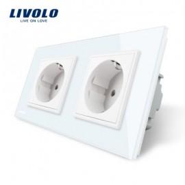 Priza dubla Livolo cu rama din sticla crystal alb termorezistenta contine 2 prize electrice de perete, ofera eleganta casei tale cu produse inovatoare.