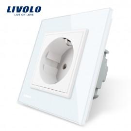 Priza simpla Livolo cu rama din sticla alb, rezistenta la zgarieturi, umezeala, praf ofera casei tale un plus de rafinament si confort.