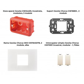 PACHET PROMOTIONAL GEWISS CHORUS GEO DOZA 3M + SUPORT 2M + 2 X INTRERUPATOR SIMPLU FILDES + RAMA 2M