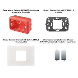PACHET PROMOTIONAL GEWISS CHORUS GEO DOZA 3M + SUPORT 2M + 2 X INTRERUPATOR SIMPLU TITAN+ RAMA 2M