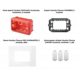 PACHET PROMOTIONAL GEWISS CHORUS GEO DOZA 3M + SUPORT 3M + 3 X INTRERUPATOR SIMPLU ALB+ RAMA 3M