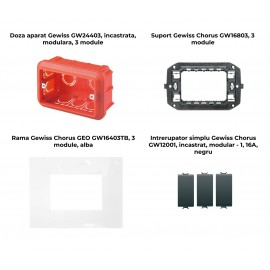 PACHET PROMOTIONAL GEWISS CHORUS GEO DOZA 3M + SUPORT 3M + 3 X INTRERUPATOR SIMPLU NEGRU+ RAMA 3M