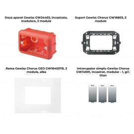 PACHET PROMOTIONAL GEWISS CHORUS GEO DOZA 3M + SUPORT 3M + 3 X INTRERUPATOR SIMPLU TITAN+ RAMA 3M