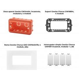 PACHET PROMOTIONAL GEWISS CHORUS GEO DOZA 4M + SUPORT 4M + 4 X INTRERUPATOR SIMPLU ALB+ RAMA 4M