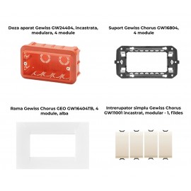 PACHET PROMOTIONAL GEWISS CHORUS GEO DOZA 4M + SUPORT 4M + 4 X INTRERUPATOR SIMPLU FILDES + RAMA 4M