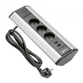 Ansamblu prize blat COLT, 3 X SCHUKO, 2 X USB 2.1A 5V, gri, 1.5m cablu AE-PBKT3S2U-80 GTV