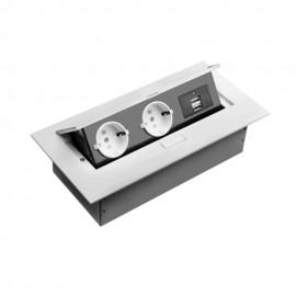 Grup prize birou, 2 x prize schucko + 2 X USB, fara cablu, rama alba, incastrabil in mobilier AE-PBU02GS-10 GTV