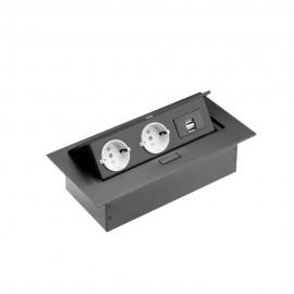 Grup prize birou, 2 x prize schucko + 2 X USB, fara cablu, rama neagra, incastrabil in mobilier