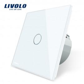 Intrerupator cap scara / cap cruce cu touch Livolo din sticla alb